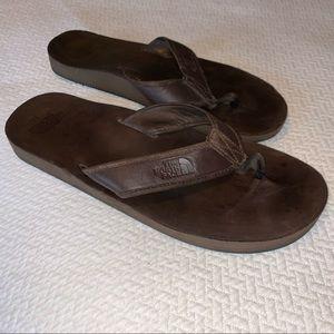 Men's leather Northface flip-flops